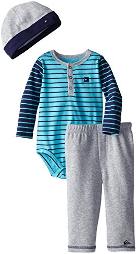 Quiksilver Baby-Boys Infant Blue Navy Stripes Long Suit With Gray Pull On Pants, Multi, 12 Months