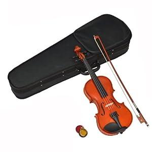 ts-ideen 1/2 Kinder Violine Geige aus Ahorn für 8 -10 Jahre im Set mit Koffer, Kolofonium und Rosshaar-Bogen
