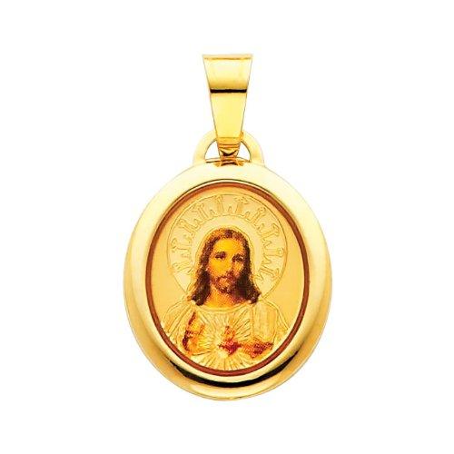 14K Yellow Gold Religious Jesus Heart Enamel