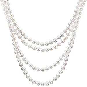 HinsonGayle Glamour Collection Handpicked 6.5-7.0mm Ultra-Luster White Cultured Pearl Rope Necklace (82 Inches) {{{GET A FREE NECKLACE WITH COUPON, SEE DETAILS BELOW}}}