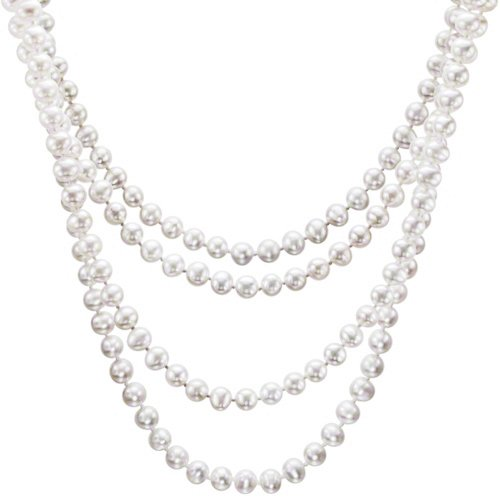 HinsonGayle Glamour Collection Handpicked Ultra-Luster White Cultured Pearl Rope Necklace (82 Inces) {FREE RUSH S&H for Valentines w/Coupon}
