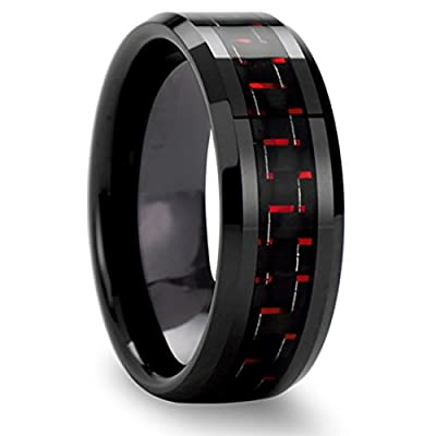 King Will Mens Tungsten Ring Beveled Edge Black and Red Carbon Fiber Inlay Band