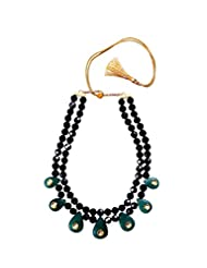 Angells Kreate Kundan Chocker Black Metal Choker Necklace For Women