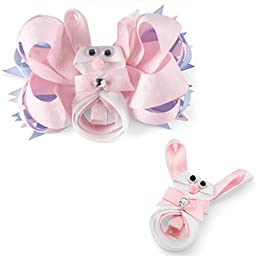 Pink Bunny Bow Clip - NEW 3 IN 1 Design Wear as Clip or Bow or Both