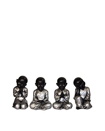Asian Loft Set of 4 Silver Leaf Buddhist Monk Statues