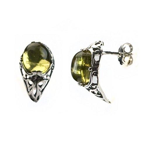 Sterling Silver Caribbean Amber Stud Earrings