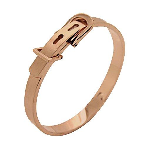 Contever® Acciaio Inossidabile 316L Classici Belt Buckle del Bracciale Braccialetto Wristband del Polsino del Omini - Rose Red