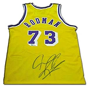 Dennis Rodman Autographed Hand Signed Authentic Nike Los Angeles Lakers Gold...