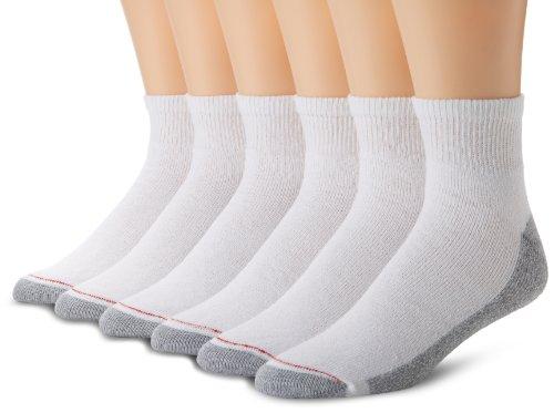 hanes-pack-de-6-hombre-calcetines-de-tobillo-full-cushion-blanco-10-13-zapatos-tamano-6-12