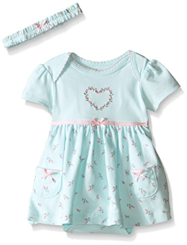 Little Me Baby Bodysuit Dress and Headband, Mint Print, 3 Months