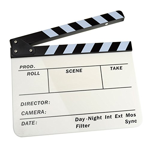 "Dslrkit Acrylic Plastic Dry Erase Director'S Film Clapboard (9.85X11.8"") With Black / White Sticks"