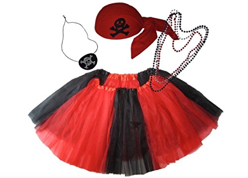 Southern Wrag Co ADULT Pirate Tutu Set Skull Cap Eye Patch RED Waist 25-50 Length 16