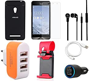NIROSHA Tempered Glass Screen Guard Cover Case Car Charger Headphone USB Cable Mobile Holder Charger for ASUS Zenfone 5 - Combo