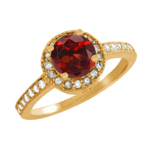 1.30 Ct Round Red Garnet White Sapphire Yellow Gold Plated Sterling Silver Ring