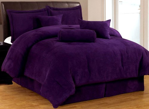 7 Piece Solid Purple Micro Suede Comforter Set Cal (California) King Bed In A Bag With Accent Pillows front-1026482