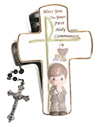 Precious Moments Communion Boy Covered Box with Rosary Figurine, Set of 2