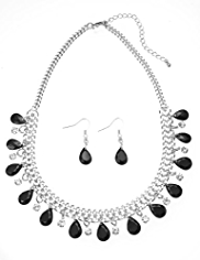 M&S Collection Teardrop Diamanté Necklace & Earrings Set