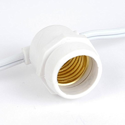 37.5 Foot Commercial Grade Outdoor Medium Base Edison String, White Wire, 16 Gauge, 25 Sockets