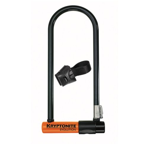 Kryptonite Evolution Series4 Long Shackle U-Lock - Black/Orange, 10.2 X 29.2 X 1.4 cm