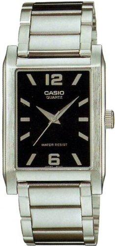 Casio MTP-1235D-1AEF Gents Watch Quartz Analogue Black Dial Silver Steel Strap