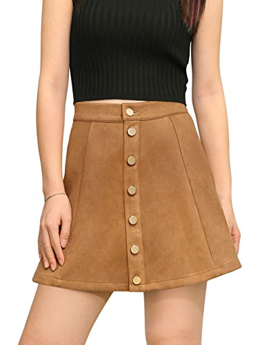 Allegra K Women's Bonded Suede Button Closure Front Mid Rise Mini A-Line Skirt