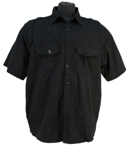 Italian Design - Mens Lavecchia Casual Short Sleeve Military Style Shirt 1923 in black: 7XL