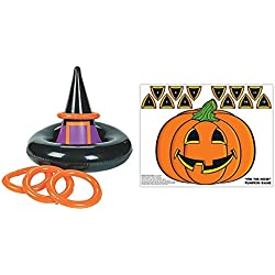 Halloween inflatable Witch Hat ring toss game + free pin pumpkin game