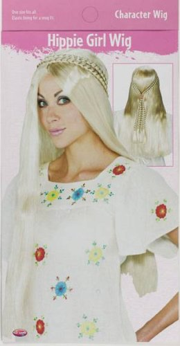 Womens Costume Wigs Long Blonde 60s 70s Hippie Girl Wig