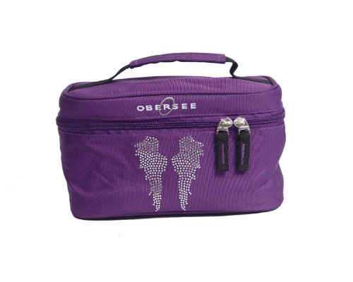 Obersee Kids Toiletry and Accessory Train Case Bag, Purple Angel Wings