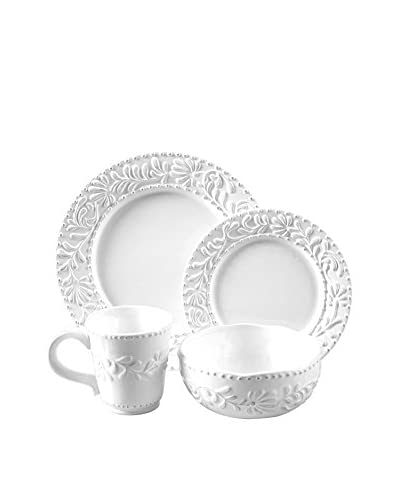 American Atelier 16-Piece Bianca Leaf Dinnerware Set, White