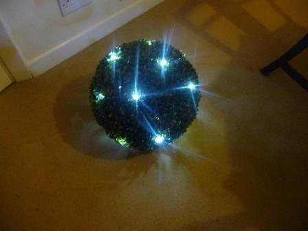 36cm Artificial Topiary Ball with 48 Fitted LED White Battery Lights  &  6 Hour Timer