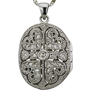 Platinum Antique Diamond Locket With Heart Design