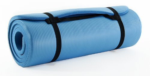 Prosource Premium 1/2-Inch Extra Thick 71-Inch Long High Density Exercise Yoga Mat With Comfort Foam And Carrying Straps, Aqua, Standard Packaging