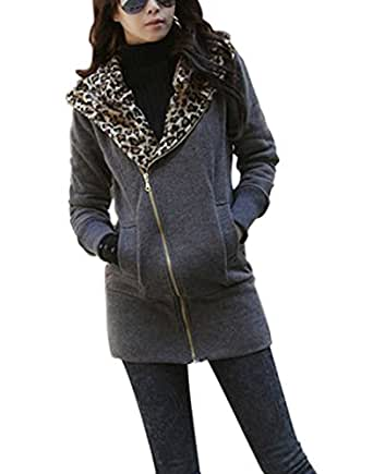 HOT Ladies Leopard Jacket Coat Warm Sweater Outerwear Hoodie Sweatshirt Grey