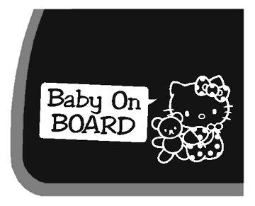 GIRL Hello Kitty Baby On Board Car Decal / Sticker