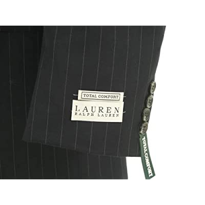 Ralph Lauren Mens Single Breasted 2 Button Black Pinstripe Wool Suit - Size 54XL