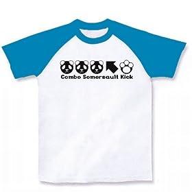 PPP←K ラグランTシャツ(ホワイト×ターコイズ) M