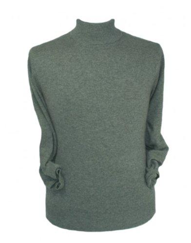 Mens Pure Cashmere Polo Neck Sweater, Grey, XL