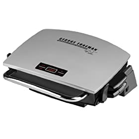 George Foreman GR0072P G-Broil Supreme Electric Nonstick Countertop Grill with Digital Timer, Silver