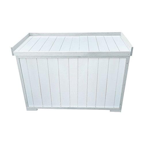 Auflagenbox stabile Gartenbox mit Sitz für Garten und Terrasse für zwei Personen aus Holz | Farbe: weiß günstig kaufen