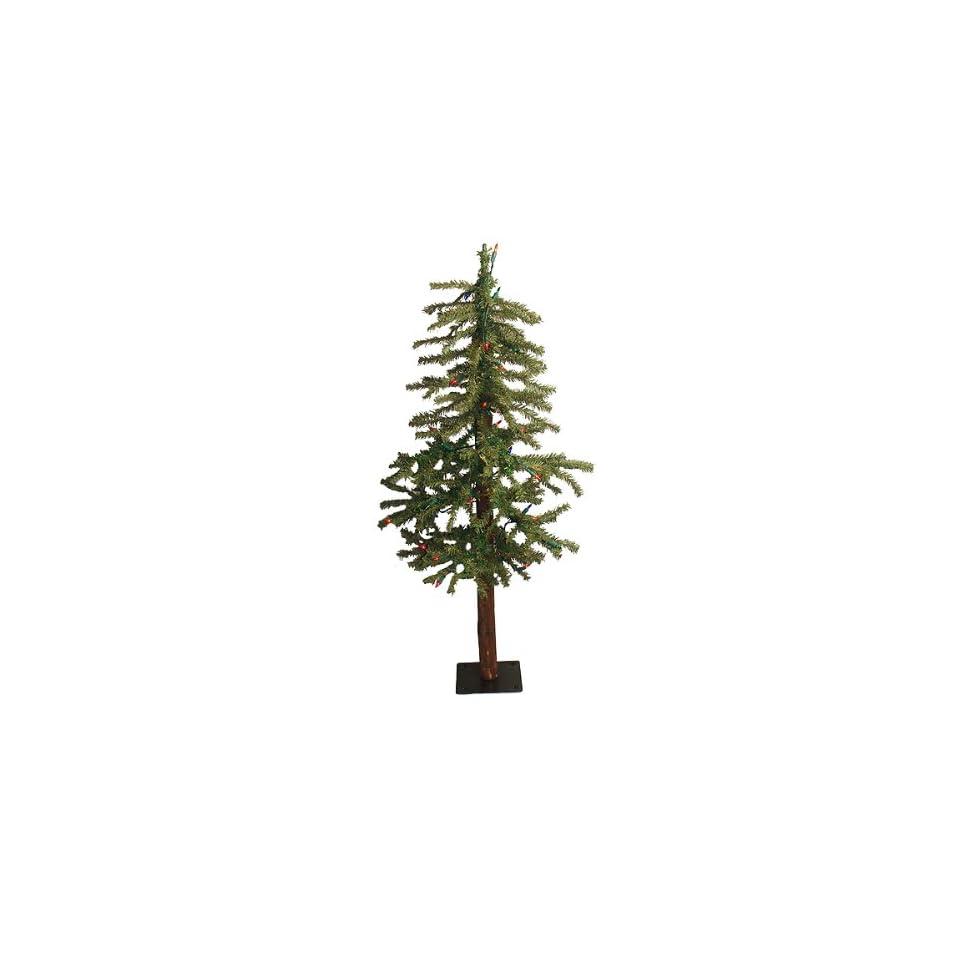 3 Pre Lit Natural Alpine Artificial Christmas Tree   Multi Lights