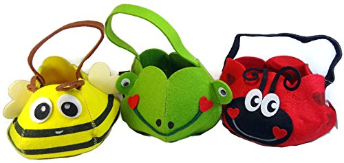 Children's Ladybug, Bumblebee & Frog Costume Bags Baskets - Set of 3