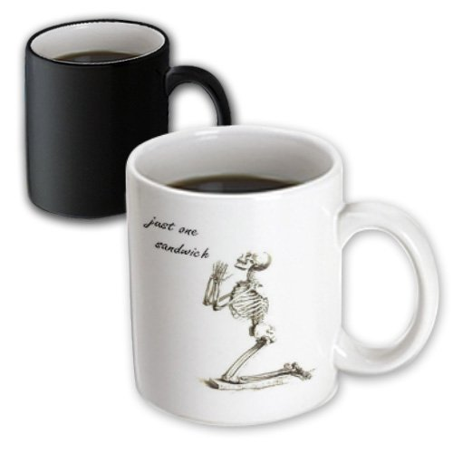 Mug_47091_3 Taiche - Birthday - Skeleton - Just One Sandwich - Skeleton, Birthday, Dieter, Diet, Weight Loss, Humour, Humor - Mugs - 11Oz Magic Transforming Mug