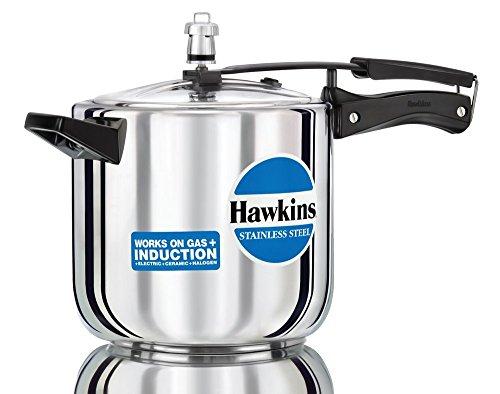 Hawkins B65 Stainless Steel Pressure Cooker, 6.0-Litre