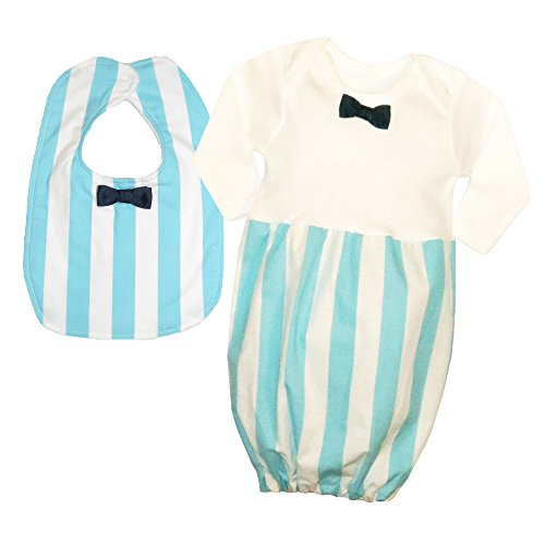Caught Ya Lookin' Baby Bib Gift Set, Blue Stripe with Navy Ribbon
