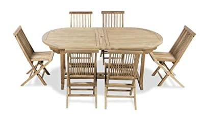 "6 Seater Grade A ""Pembroke"" Teak Dining Set with Oval Extendable Table by Liz Frances"