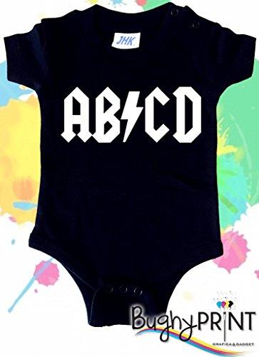 BODY tutina pagliaccetto bimbo neonato AB/CD AC/DC Rock 3 mesi