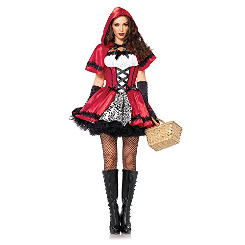 Women 85230 Gothic Red Riding Hood, Peasant Dress & Hooded Cape Costume