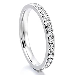 Women's Stainless Steel Eternity Ring Band CZ White Wedding Charm Elegant Size12 from INBLUE Jewelry