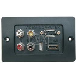 3 RCA FEMALE + HDDB 15 PIN VGA + USB A FEMALE + EP ST. FEMALE + HDMI FEMALE CONNECTOR FACE PLATE ( Ø 114 X 70 mm )